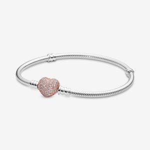 Pandora Moments Pavé Heart Clasp Snake Chain Brace